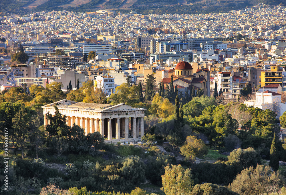 Fototapety, obrazy: View from top of Temple of Hephaestus Theseion in Athens, Greece during summer