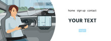 Banner Template With Passenger In Self Driving Autonomous Car. Vector Illustration EPS 10