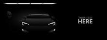 Black Electric Car With A Charging Station In The Dark. Vector Banner Template