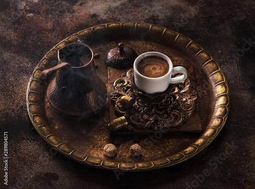 Photo sur Aluminium Café en grains Old cezve and cup coffee, still life oriental coffee