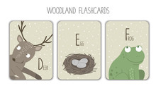 Colorful Alphabet Letters D, E, F. Phonics Flashcard. Cute Woodland Themed ABC Cards For Teaching Reading With Funny Bird, Deer, Eggs..