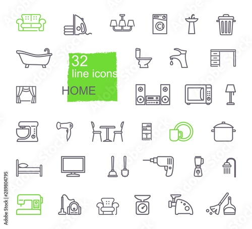 Linear icons of household items Canvas Print