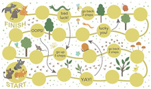 Forest Adventure Board Game For Children. Educational Woodland Boardgame. Puzzle With Animals, Birds, Trees, Insects. Help Baby Fox, Wolf And Boar Get To Their Parents..