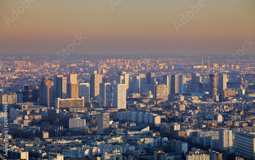 Photo  Paris city panorama - aerial view at sunset