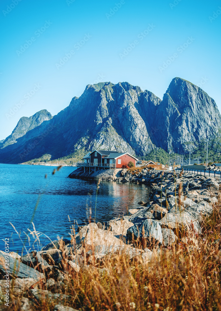Fototapety, obrazy: View of the city of Rhine on the Lofoten islands, a beautiful bright landscape, white and red houses on the background of rocks