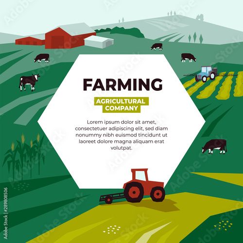 Vector illustration for farming with farm land, pasture, cows, agricultural machinery, fields, landscape. Design for farmers, agricultural company. Template for banner, annual report, prints, layout. Wall mural