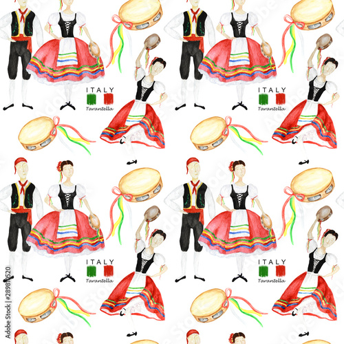 Seamless Pattern Dancers In National Costume An Italian