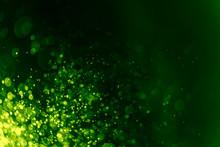 Abstract Green Bokeh Defocus Glitter Blur Background.