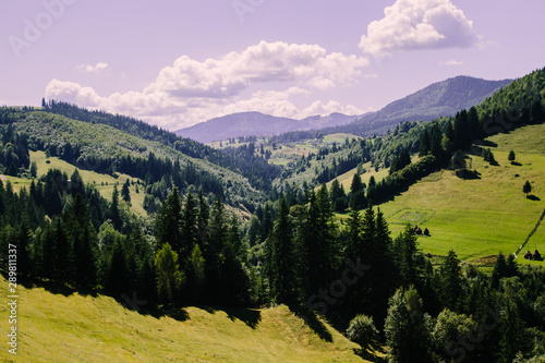 Printed kitchen splashbacks Purple Mountain village landscape in the wild Ukrainian Bukovyna area