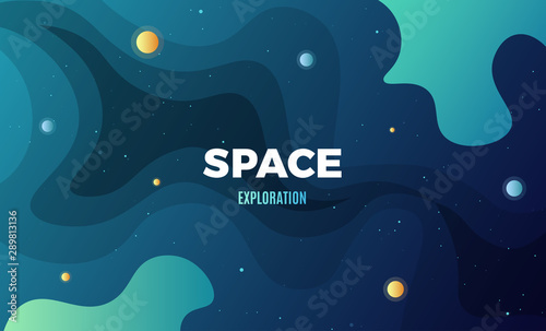 Obraz Space Exploration background design, modern gradient vector template with flat style cosmic illustration - fototapety do salonu