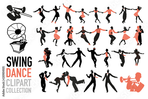 Swing dance clipart collection Canvas Print
