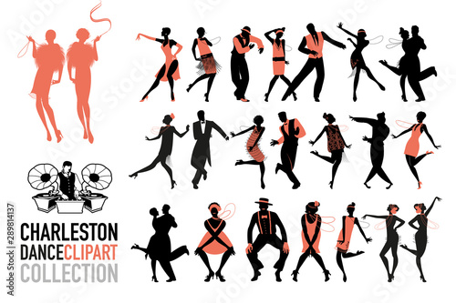 Charleston dance clipart collection Canvas Print