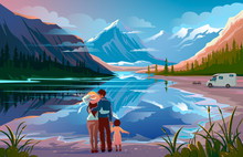 Happy Family Standing Near Lake Looking Away Family Vacation Travel, Holiday Camping Trip