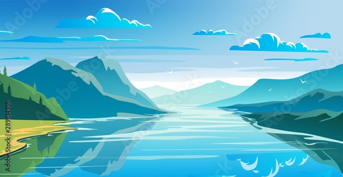 Stampa su Tela  Natural landscape, mountains and lake, beautiful morning scene.