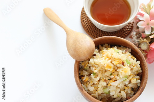 Chinese food, scallion and egg stir fried with roasted pork rice Canvas Print