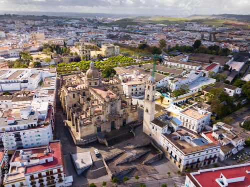 View from drone of Jerez de la Frontera with Cathedral and Moorish alcazar