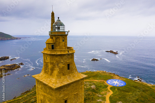 La Coruna lighthouse aerial view