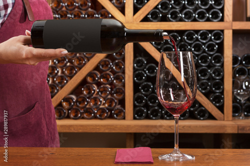 Photo sur Toile Amsterdam concept of tasting and buying wine, a girl pours wine in a glass, against the background of a rack with bottles