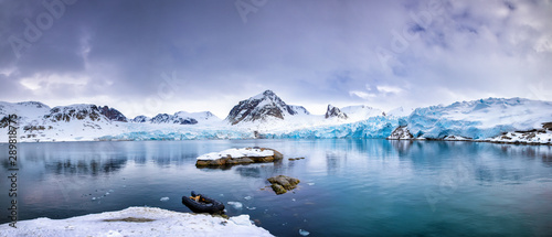 Panorama of the Smeerenburg glacier Svalbard Canvas Print