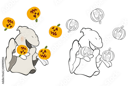 Fotobehang Babykamer Vector Illustration of a Cute Cartoon Character Ghost for you Design and Computer Game. Coloring Book Outline Set