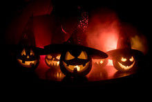 Group Of Halloween Jack O Lant...