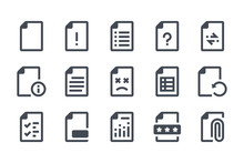 File Type Glyph Icon Set. Doc Format Filled Icons. Document Information Solid Vector Sign Collection.