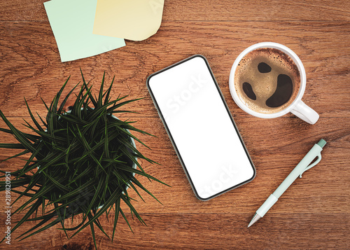 Poster Pays d Asie Smartphone mockup template blank screen next to coffee, paper notes, pen and grass flower