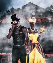 Doctor Shadow Or Shadow Man And Voodoo Queen,3d Illustration