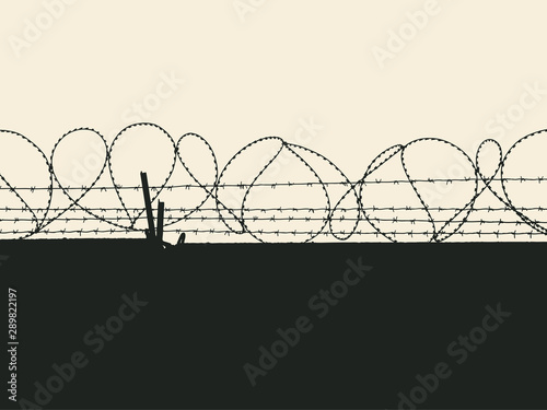 Fényképezés  Silhouette of fence with barbed wires. Vector Illustration