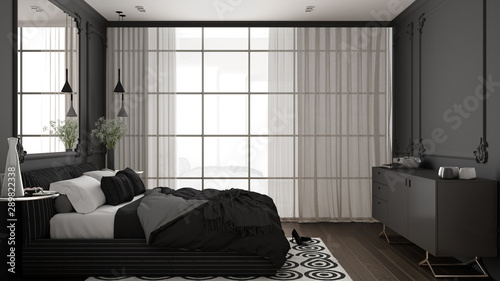 Modern gray bedroom in classic room with wall moldings, parquet floor, double bed with duvet and pillows, minimalist bedside tables, mirror and decors Wallpaper Mural