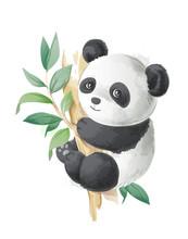 Cute Cartoon Panda On A Tree I...