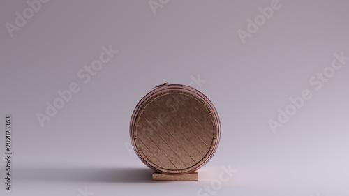 Fotografía Bronze Barrel with Metal Hoops Front View  Lying Down 3d illustration 3d render