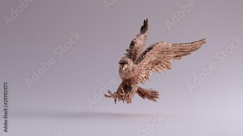 Photo  Bronze Eagle in Flight Hunting Sculpture 3 Quarter Left View 3d illustration 3d