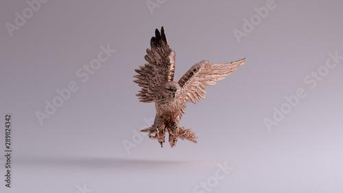 Bronze Eagle in Flight Hunting Sculpture Front View 3d illustration 3d render Canvas Print