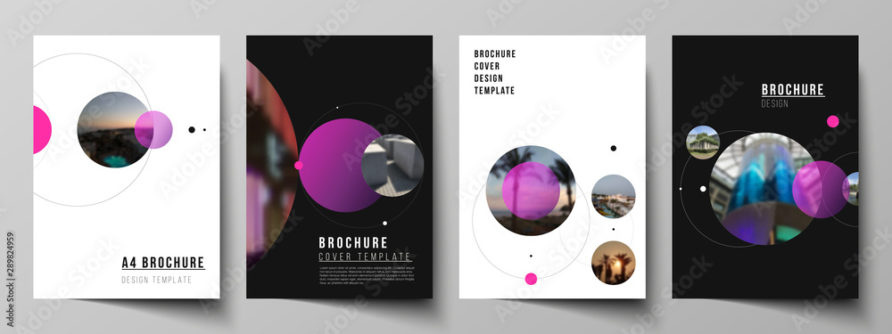 Fototapeta Vector layout of A4 format modern cover mockups design templates for brochure, flyer, booklet, report. Simple design futuristic concept. Creative background with circles that form planets and stars.