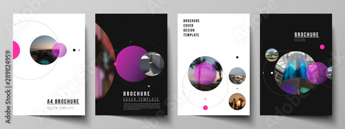 Fototapeta Vector layout of A4 format modern cover mockups design templates for brochure, flyer, booklet, report. Simple design futuristic concept. Creative background with circles that form planets and stars. obraz