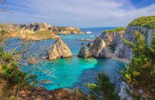 Seascape Of Tremiti Archipelago With Pagliai Cliffs In San Domino Island, Cretaccio And San Nicola Island In Background.