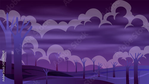 Poster Violet Cloudy night forest landscape with purple gradient