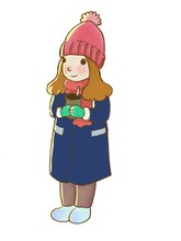 Illustration A Girl Hold A Cup. A Girl In Winter Costume Look , Blue Coat, Brown Pants, Pink Hat, Pink Scarf, Green Glove And Blue Sneakers.