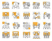 Set Of Different Meeting Icons Meetings, Brainstorm, Group Team People, Conference, Leader, Discussion. Vector Illustration