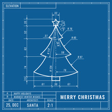 Christmas Tree As Technical Blueprint Drawing. Christmas Technical Concept. Mechanical Engineering Drawings. Christmas And New Year Banner, Cover, Poster, Flyer Or Greeting Card