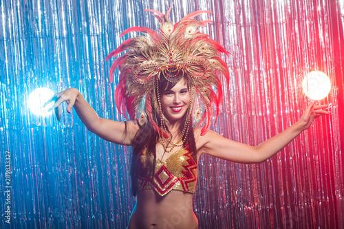 Carnival, belly dance and holiday concept - Beautiful female samba dancer wearin Wallpaper Mural