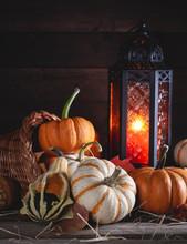 Cornucopia With Assortment Of Pumpkins And Lantern