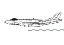 Supermarine Scimitar. Outline Vector Drawing