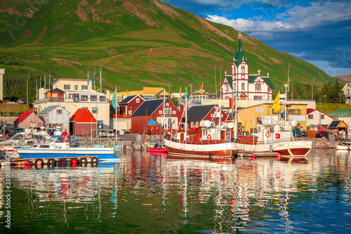 Fotografia, Obraz Town of Husavik at sunset, north coast of Iceland