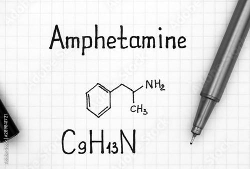 Chemical formula of Amphetamine with black pen. Fototapete