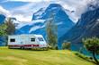 Leinwanddruck Bild - Family vacation travel RV, holiday trip in motorhome