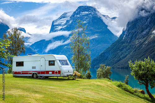 Family vacation travel RV, holiday trip in motorhome - 289841993