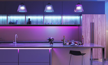 Modern Kitchen With Colored Le...