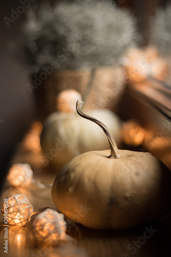 autumn cosy pumpkin, candles and autumn plants on window with led lights bokeh Fototapet